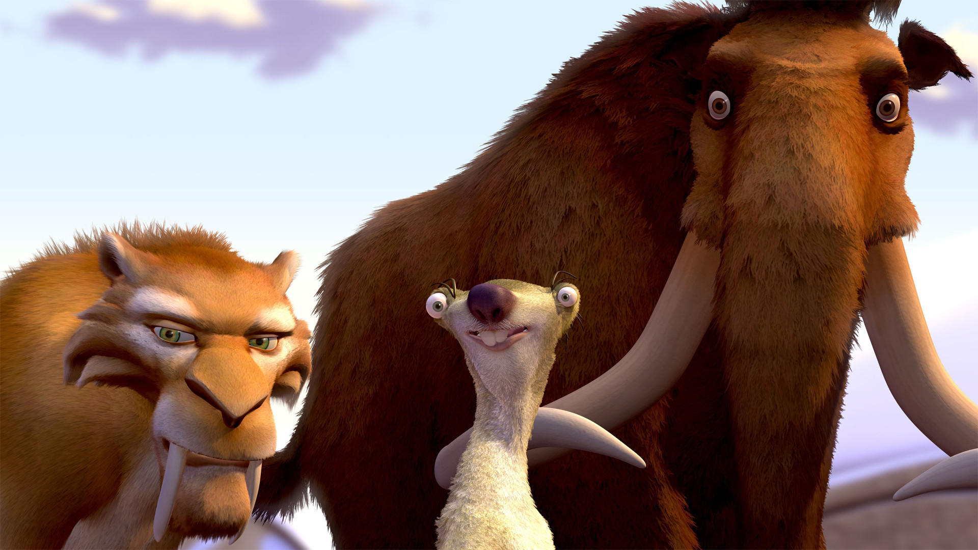 Diego the sabre-tooth tiger (voiced by Denis Leary), Sid the sloth (voiced by John Leguizamo) and the mammoth Manfred (voiced by Ray Romano) in Ice Age (2002)