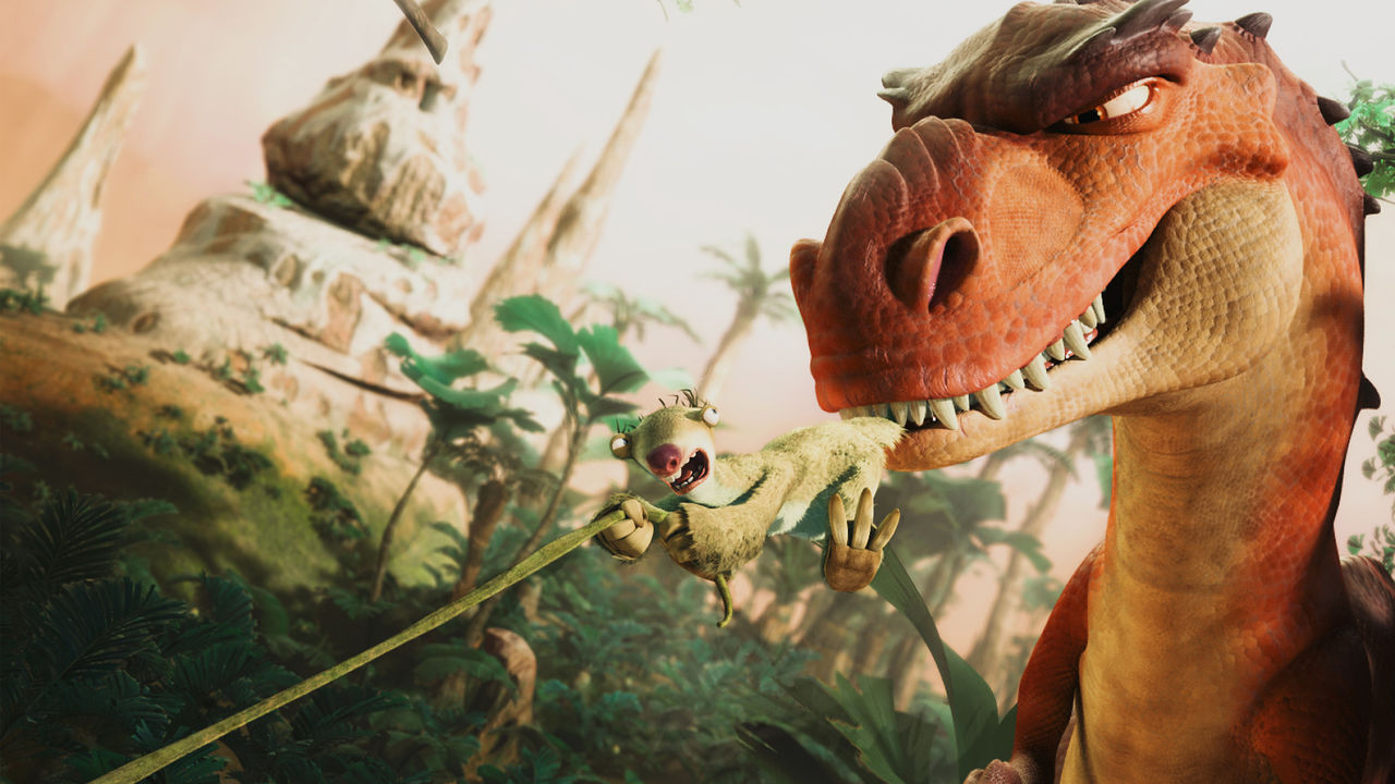 Sid the sloth (voiced by John Leguizamo) flees from a dinosaur in Ice Age 3: Dawn of the Dinosaurs (2009)