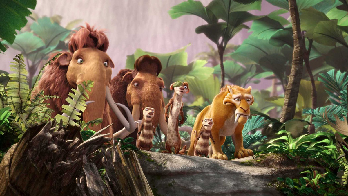 The familiar animals venture into a prehistoric underground realm in Ice Age 3: Dawn of the Dinosaurs (2009)