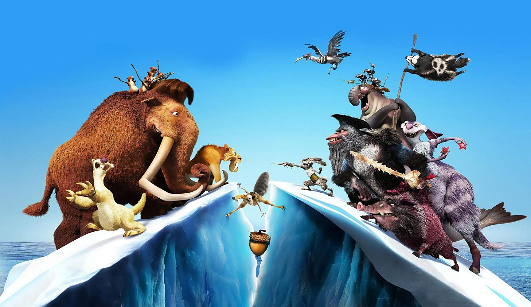 Promotional artwork - the familiar characters up against prehistoric pirates in Ice Age: Continental Drift (2012)