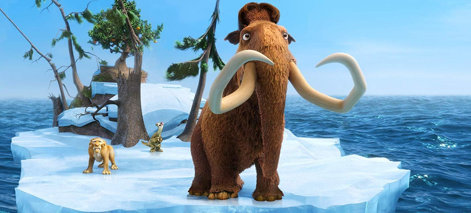 (l to r) Diego (voiced by Denis Leary), Sid (voiced by John Leguizamo) and Manny (voiced by Ray Romano) set sail on a sheet of ice in Ice Age: Continental Drift (2012)