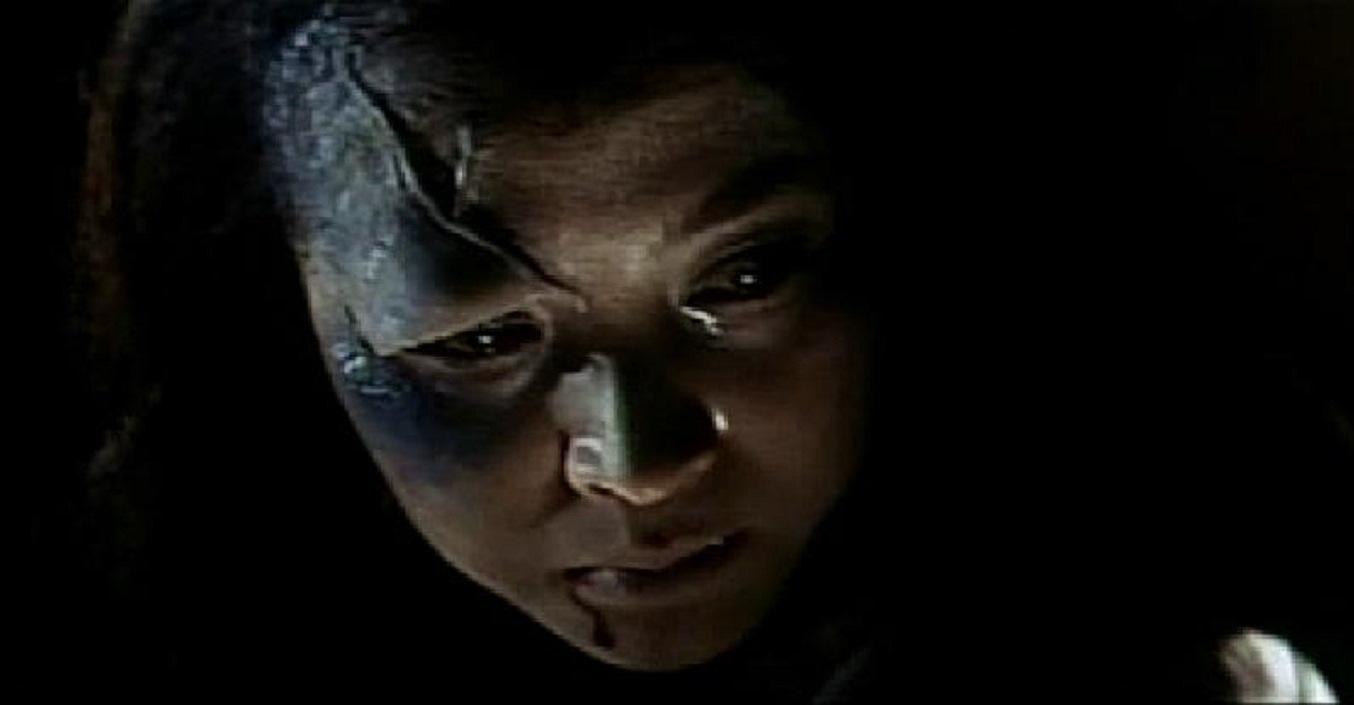 Oiwa (Mariko Okada) with her disfigured face in Illusion of Blood (1965)