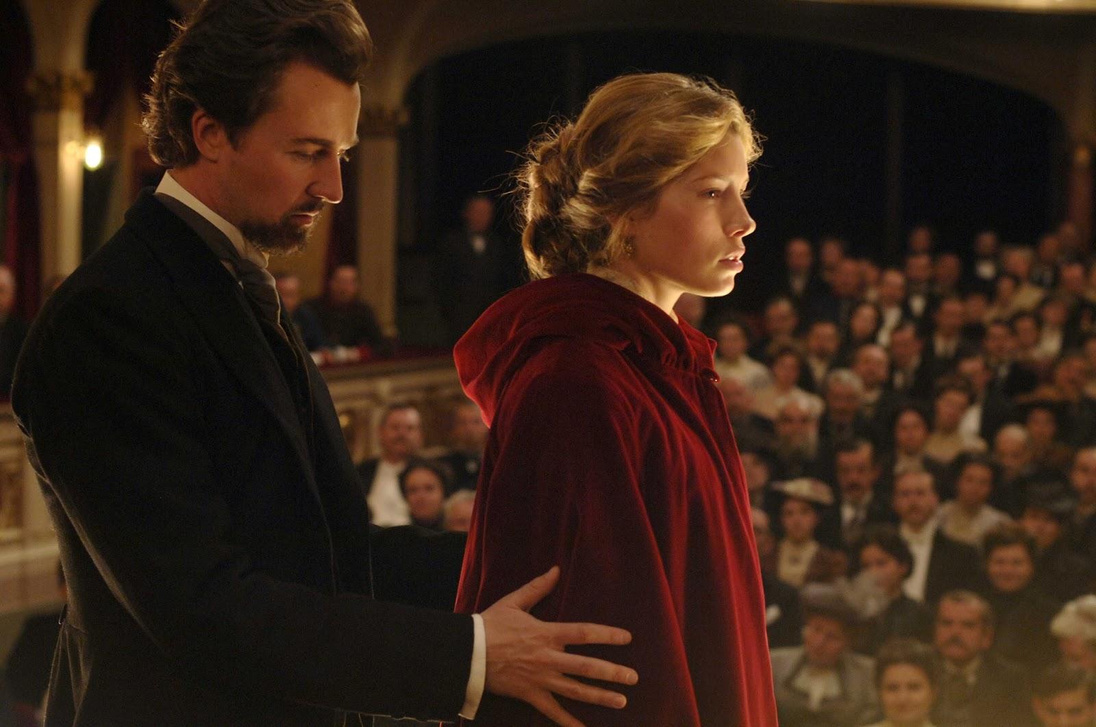 Eisenheim (Edward Norton) onstage with Countess Sophie von Teschen (Jessica Biel) in The Illusionist (2006)