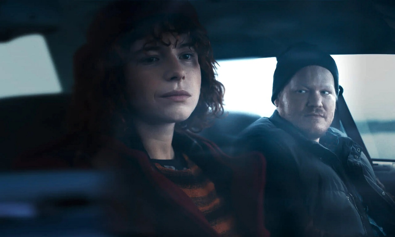 Jessie Buckley and Jesse Plemons on a trip to meet his parents in I'm Thinking of Ending Things (2020)