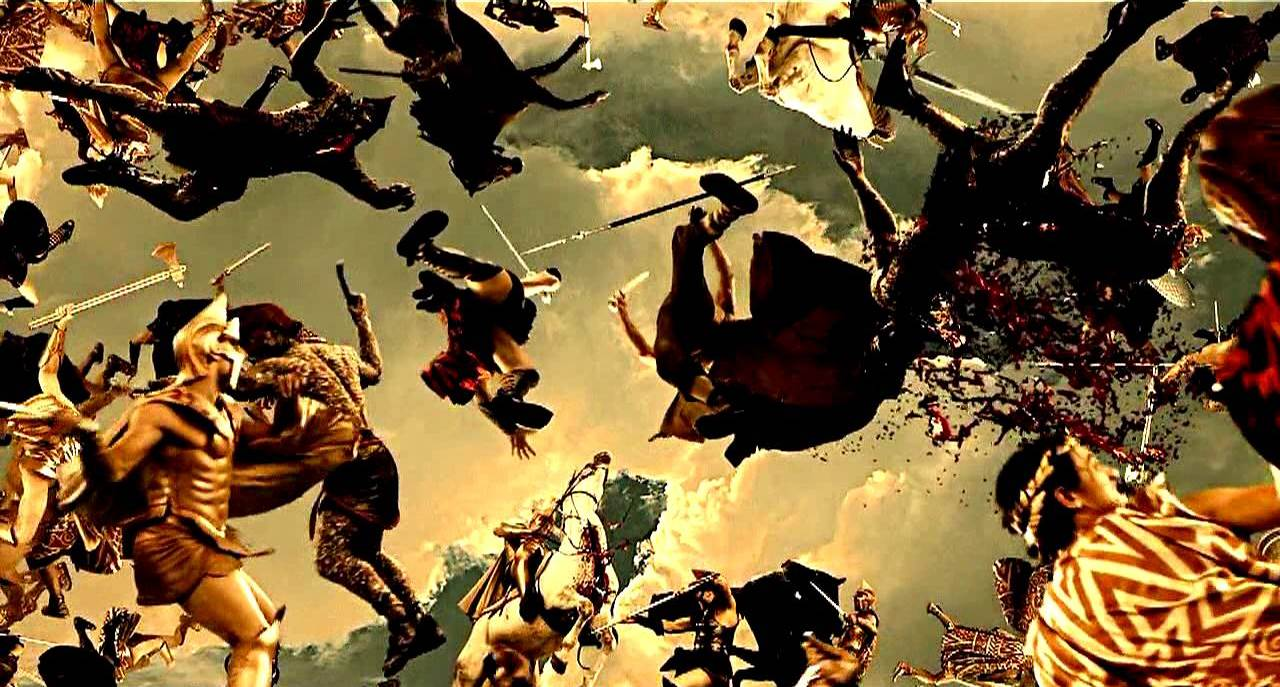 The gods and Titans war in the sky in Immortals (2011)