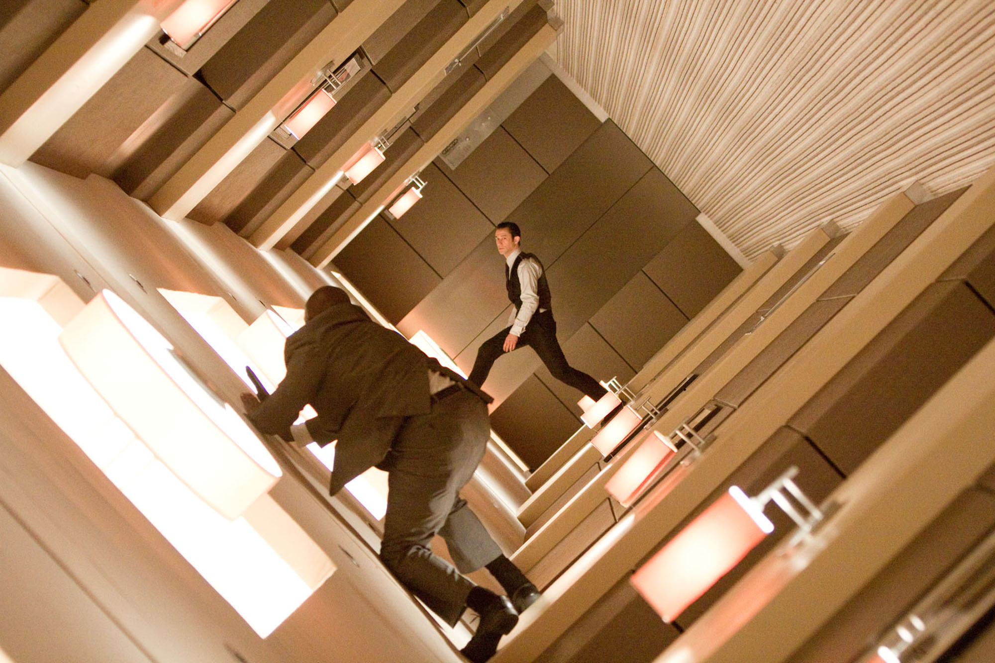 Joseph Gordon-Levitt in the zero g hotel corridor fight scene in Inception (2010)