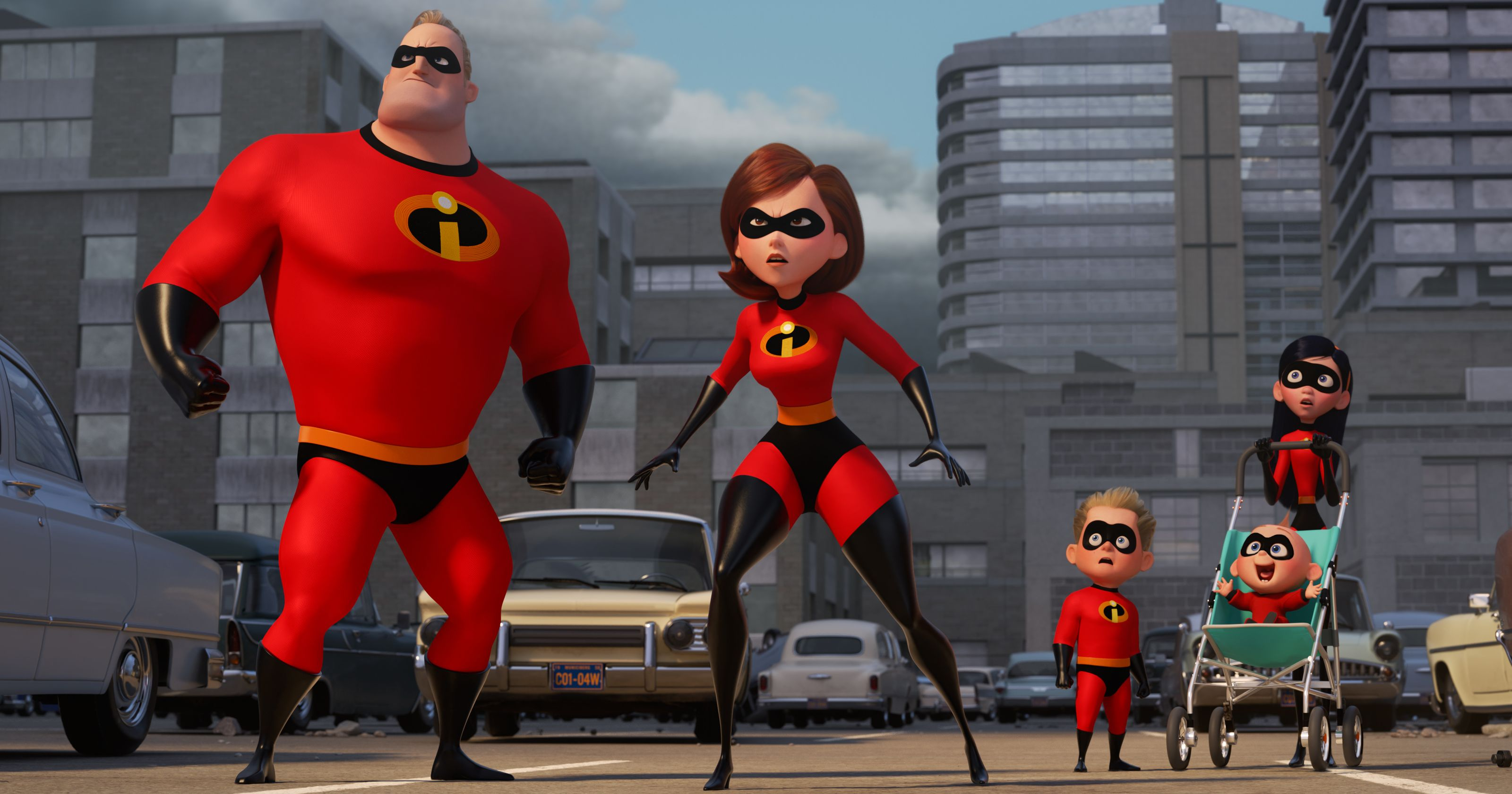 The Incredibles back in action - Bob/Mr Incredible, Helen/Elastigirl, Dash, Jack-Jack and Violet in Incredibles 2 (2018)