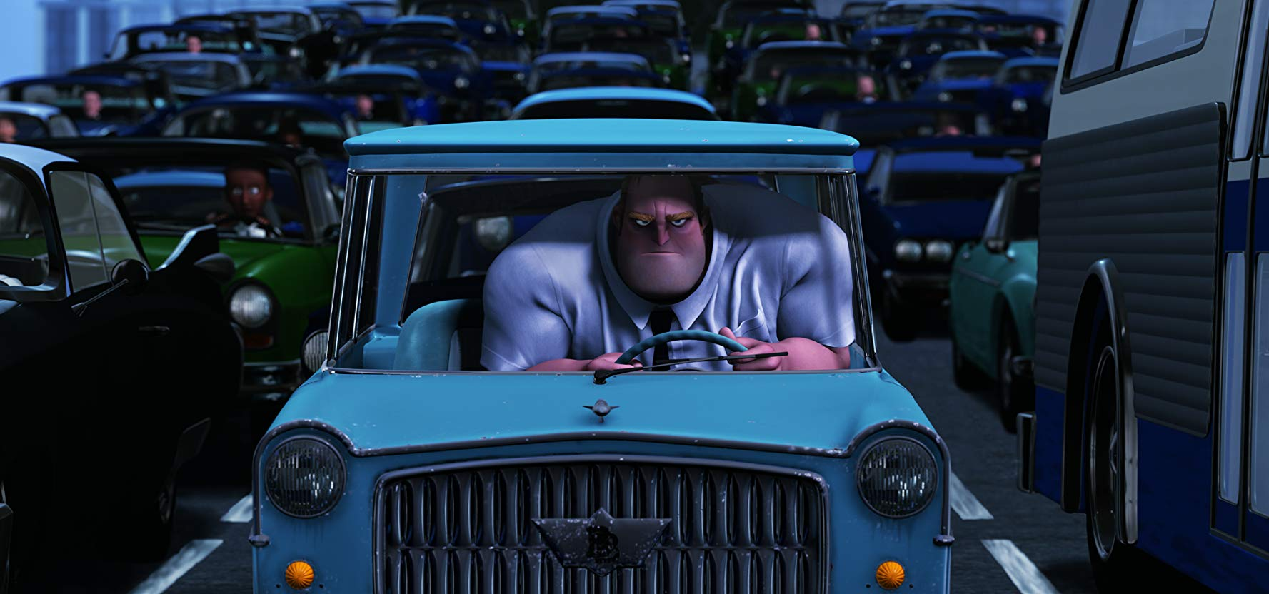 Bob champing in frustration in traffic in The Incredibles (2004)