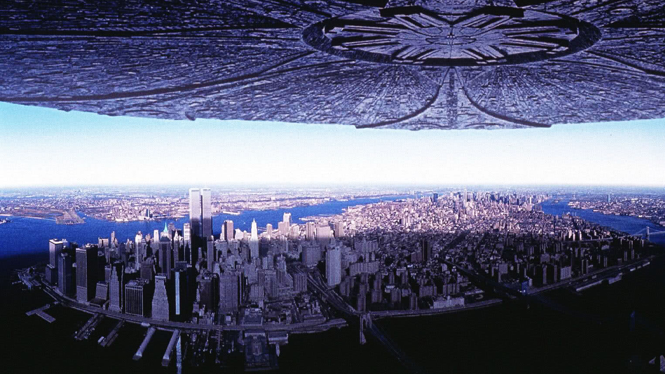 The arrival of alien ships over major cities in Independence Day (1996)