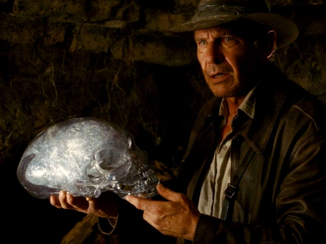 Harrison Ford as Indiana Jones with crystal skull