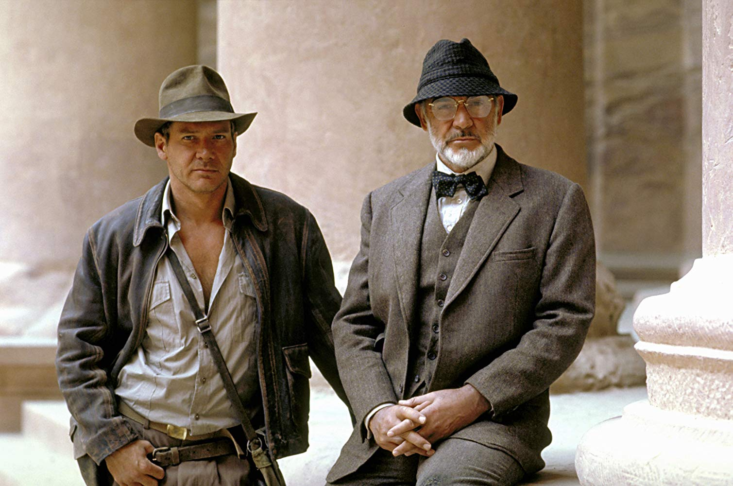 Indiana Jones (Harrison Ford) and his father Dr Henry Jones (Sean Connery) in Indiana Jones and the Last Crusade (1989)