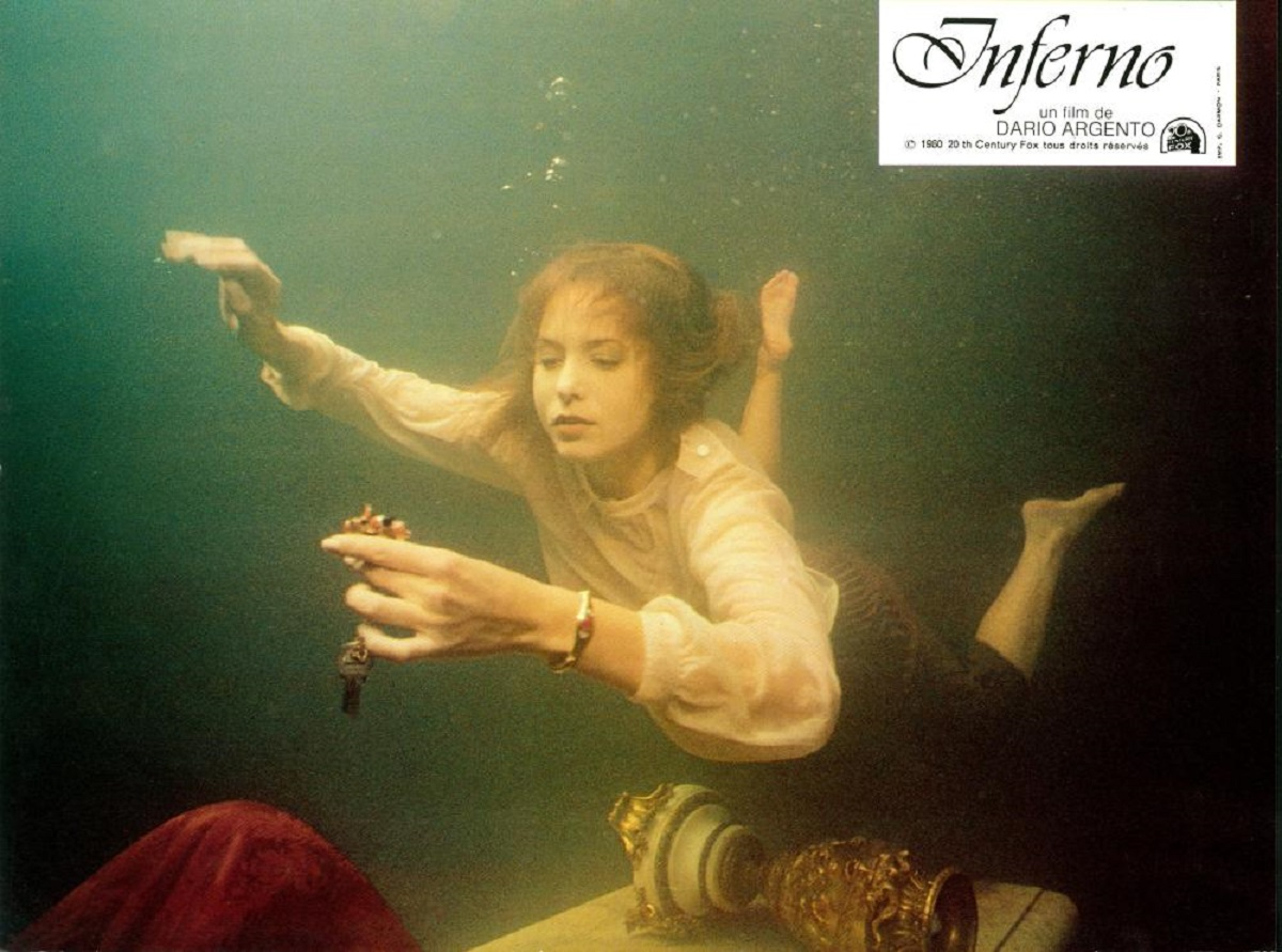 Irene Miracle discovers a submerged ballroom in Inferno (1980)