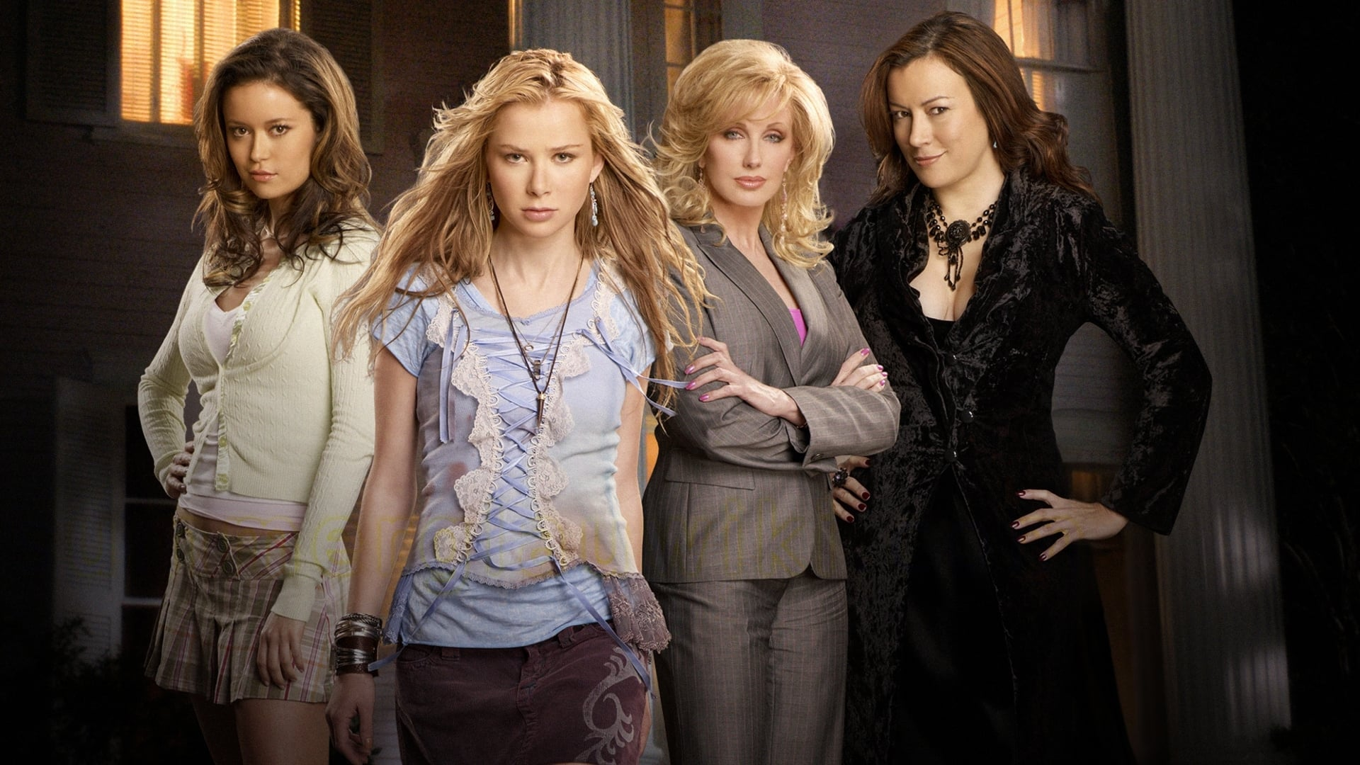 Cast line-up - (l to r) sisters Summer Glau and Mika Boorem their mother Morgan Fairchild and sorority housemother Jennifer Tilly in The Initiation of Sarah (2006)