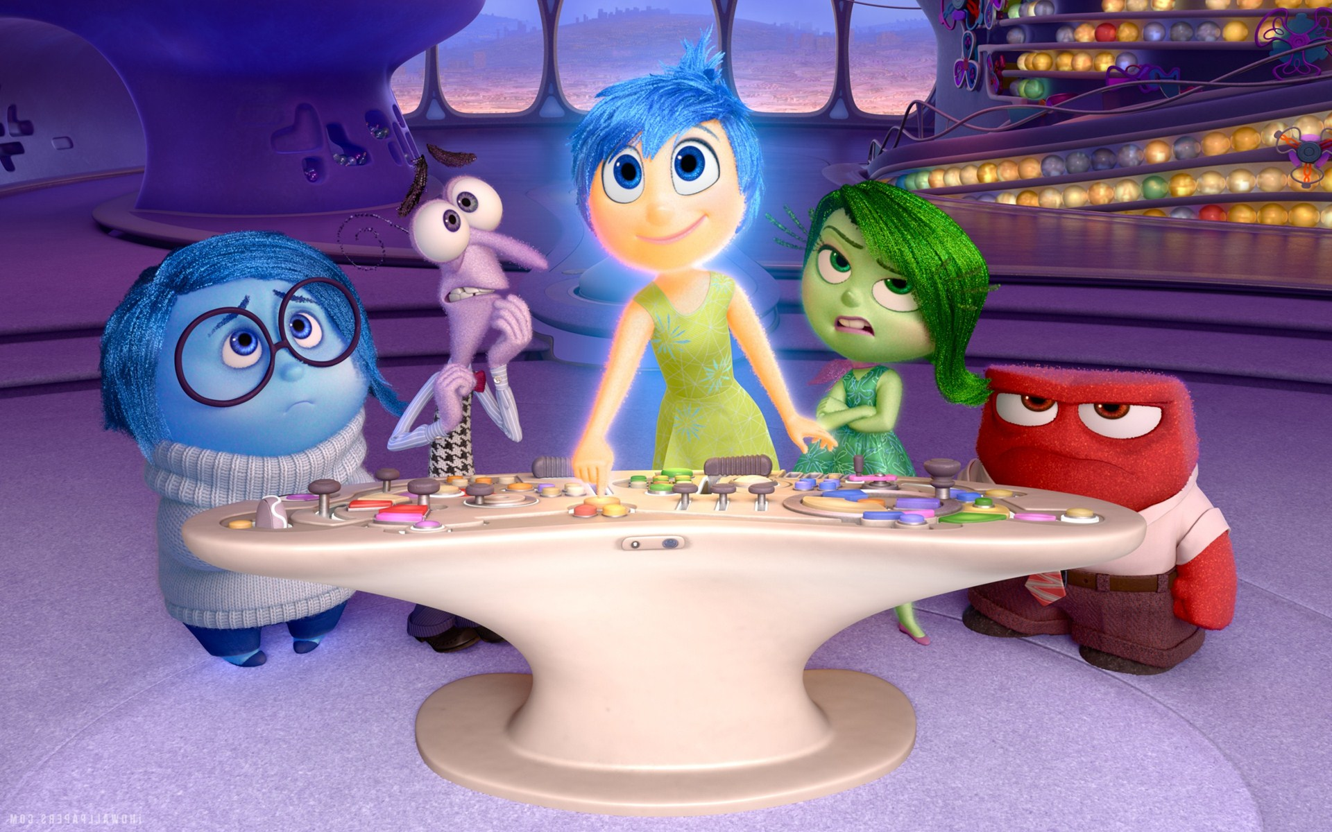 The personalities inside Riley's head - Sadness (voiced by Phyllis Smith), Fear (voiced by Bill Hader), Joy (voiced by Amy Poehler), Disgust (voiced by Mindy Kaling) and Anger (voiced by Lewis Black) in Inside Out (2015)