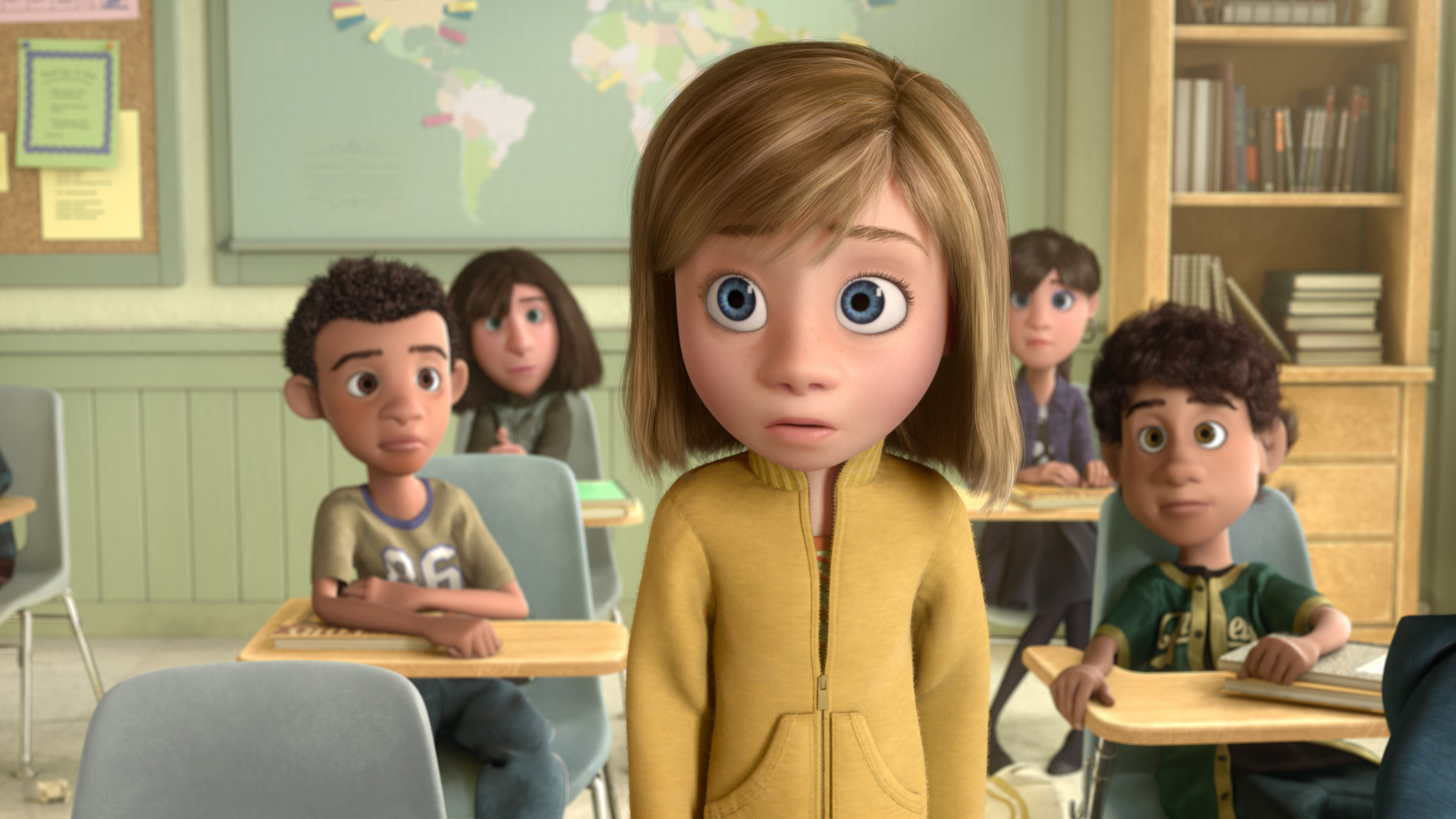 Riley Anderson (voiced by Kaitlyn Dias) depressed at the move to a new town in Inside Out (2015)