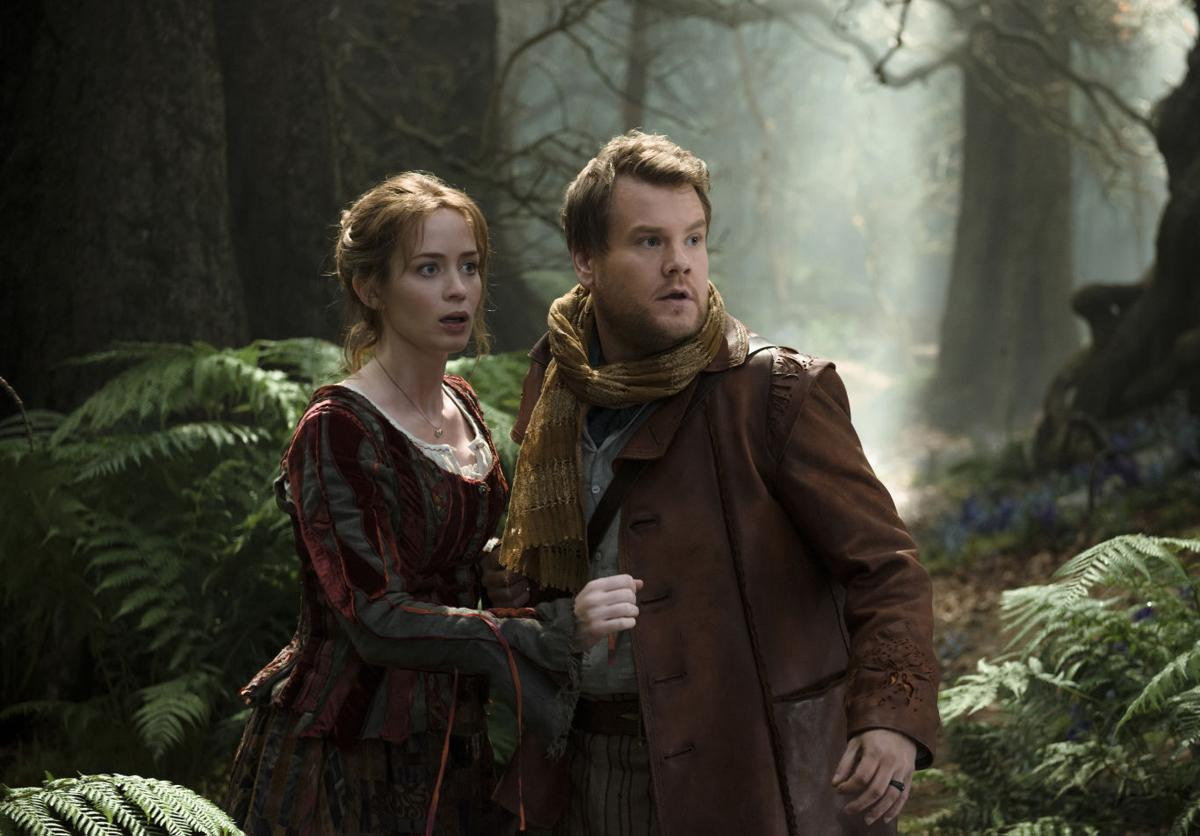 The Baker (James Corden) and his wife (Emily Blunt) head Into the Woods (2014)