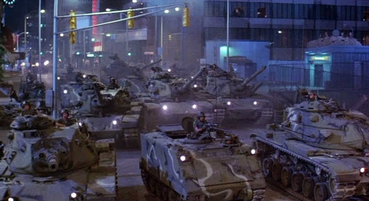 Soviet tanks in the streets of the USA in Invasion U.S.A. (1985)