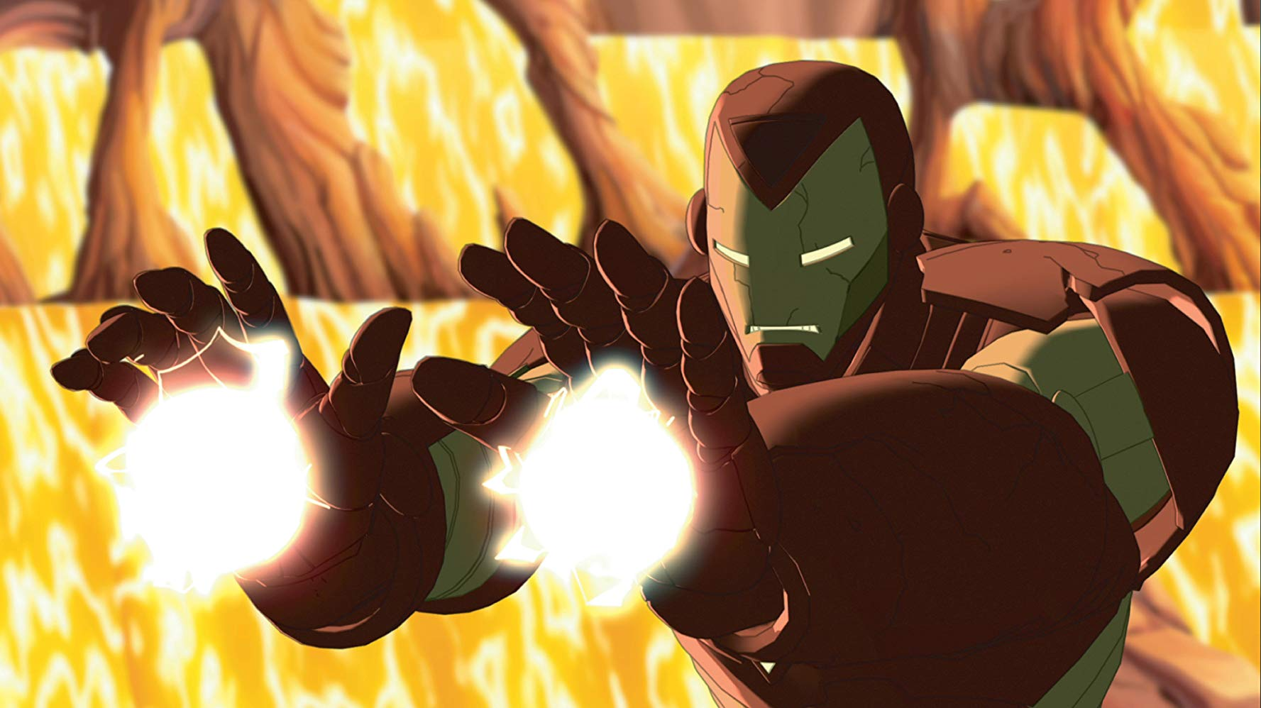 The animated Iron Man in action in The Invincible Iron Man (2007)