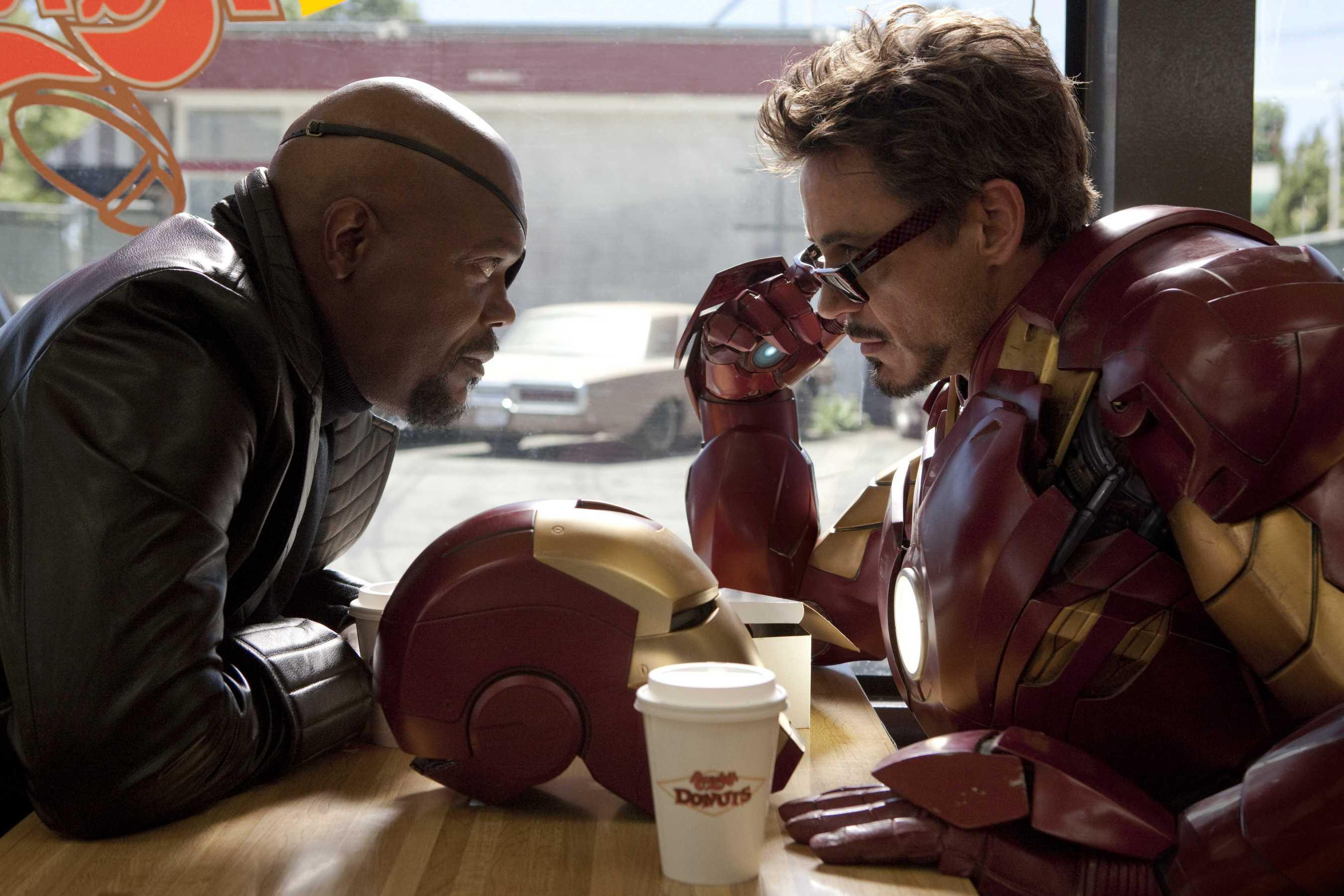 Nick Fury (Samuel L. Jackson) and Tony Stark/Iron Man (Robert Downey Jr) in Iron Man 2 (2010)