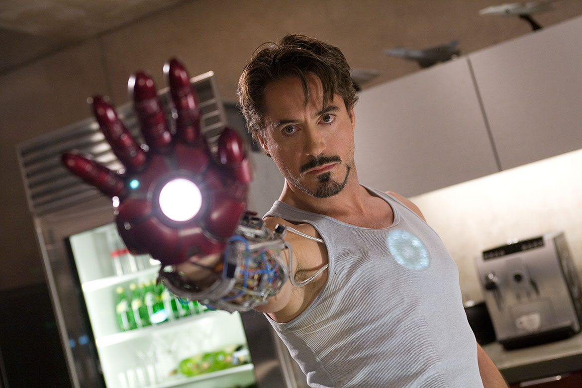 Tony Stark (Robert Downey Jr) perfects the suit in Iron Man (2008)