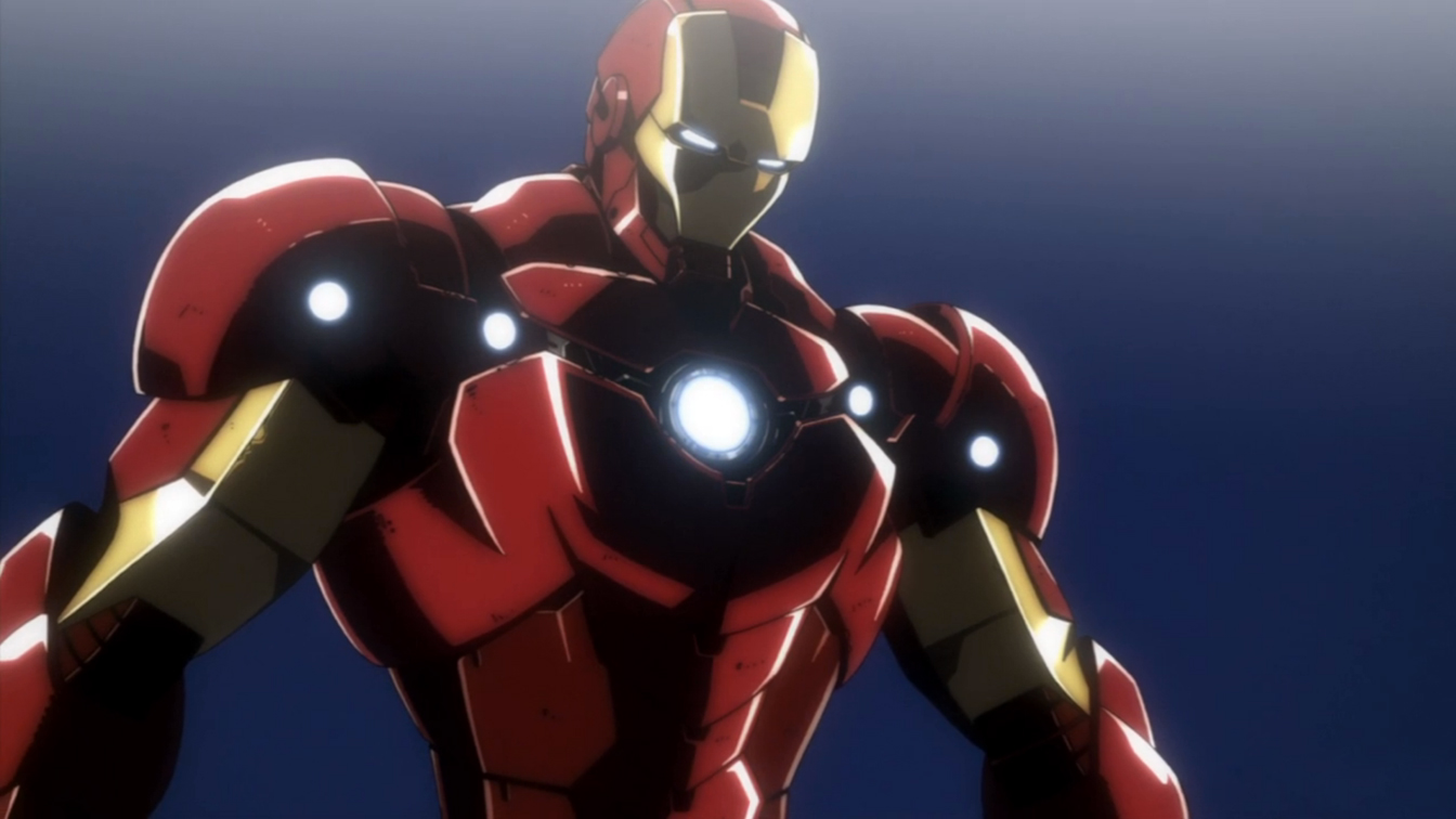 The animated Iron Man in action in Iron Man: Rise of the Technovore (2013)