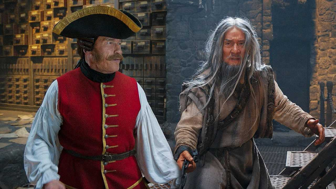 Arnold Schwarzenegger as Captain James Hook and Jackie Chan as The Master in The Iron Mask (2019)