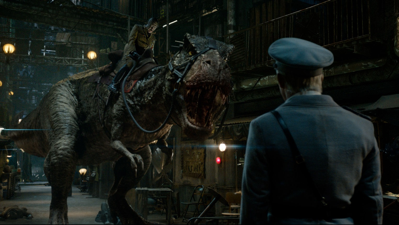 An alien lizard Adolf Hitler (Udo Kier) invades the moonbase riding on the back of a dinosaur in Iron Sky: The Coming Race (2019)