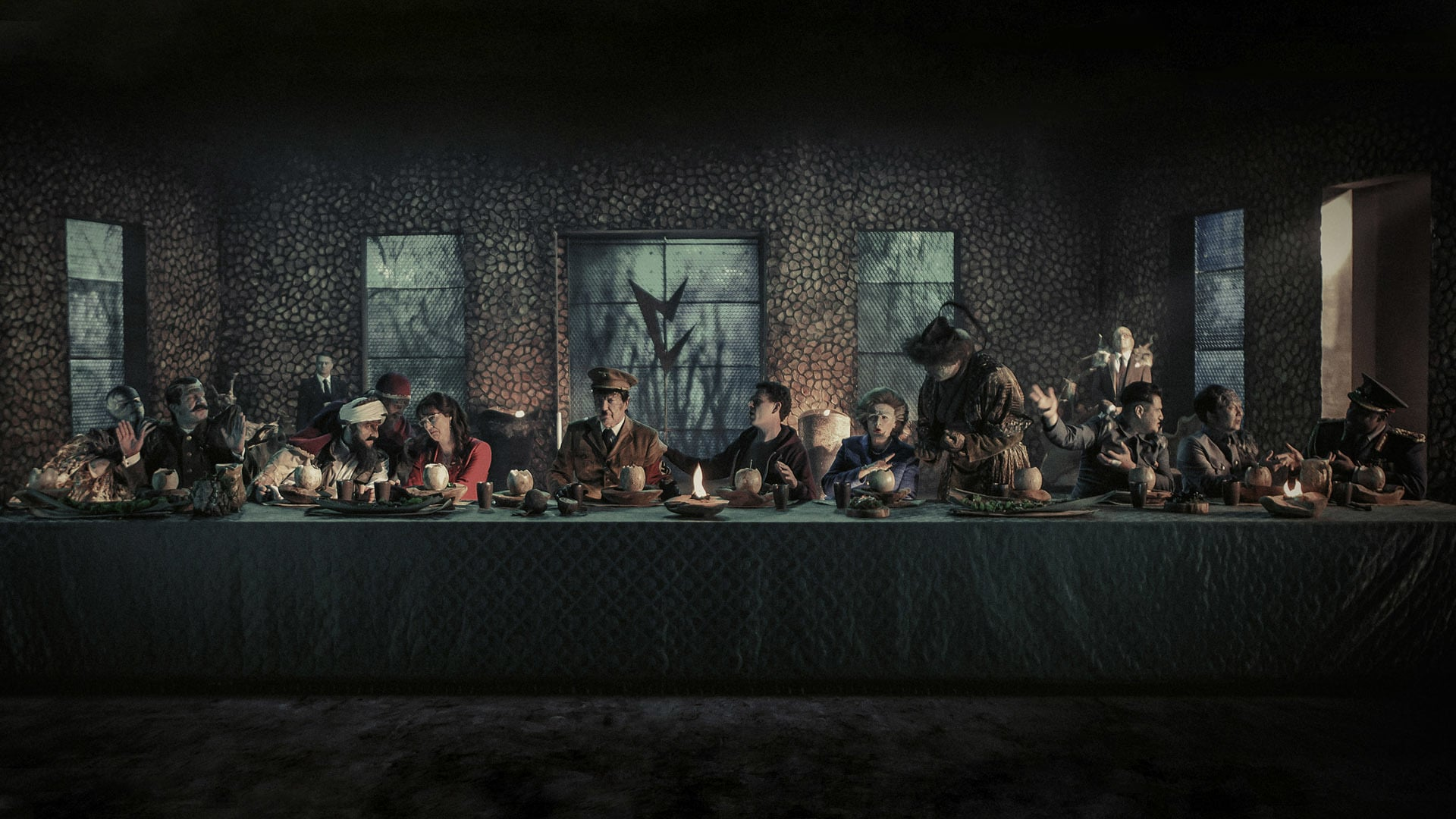 Da Vinci's The Last Supper restaged with alien lizard people in Iron Sky: The Coming Race (2019)
