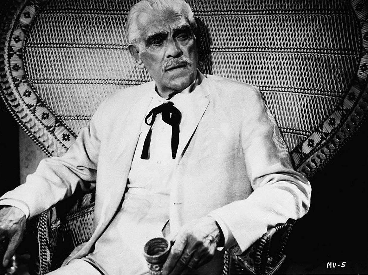 An 81 year-old Boris Karloff as plantation owner Karl Van Molder in Isle of the Snake People (1971)