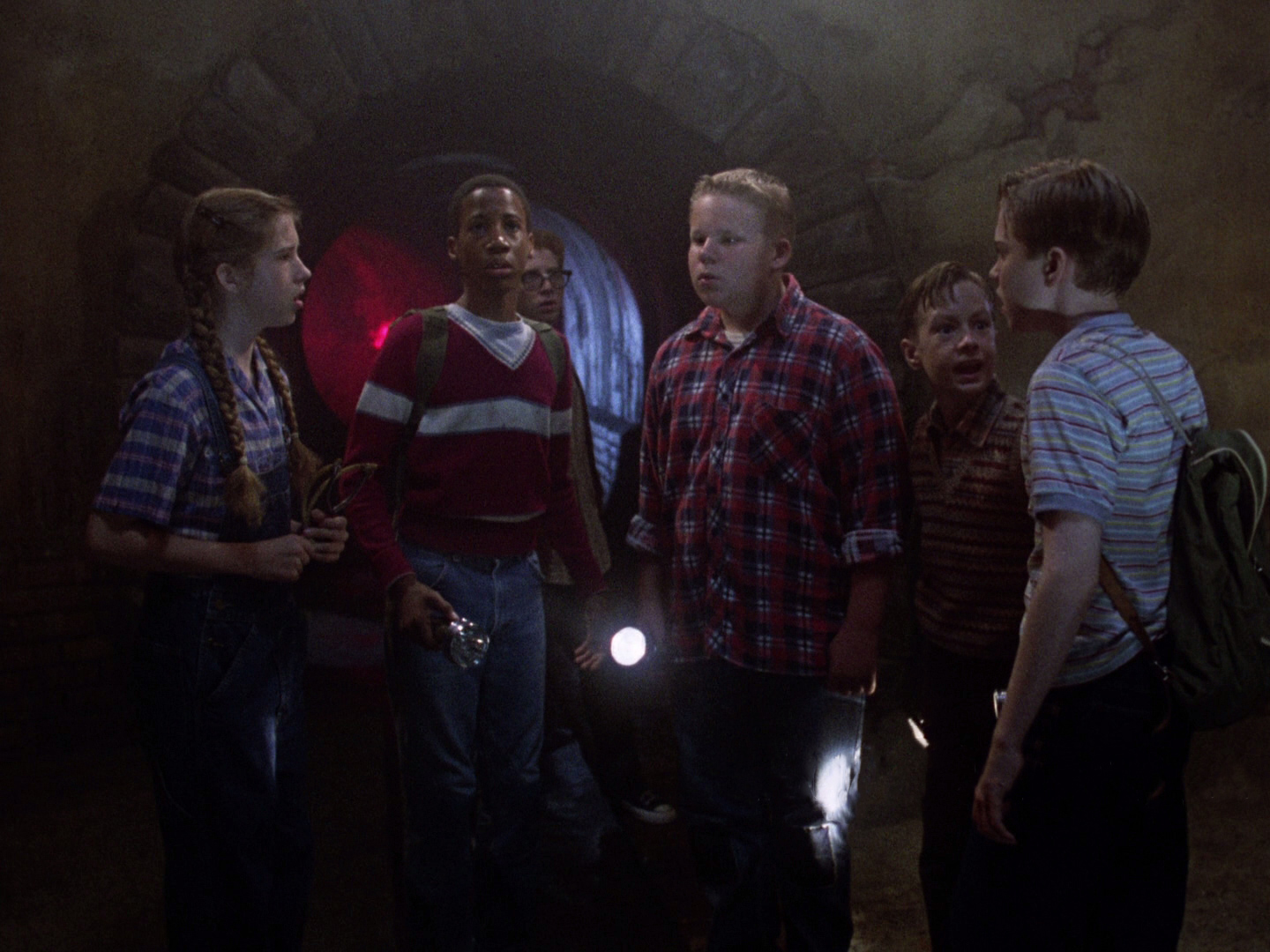The kids - (l to r) Emily Perkins, Marlon Taylor, Seth Green, Brandon Crane, Adam Faraizl, Jonathan Brandis in It (1990)