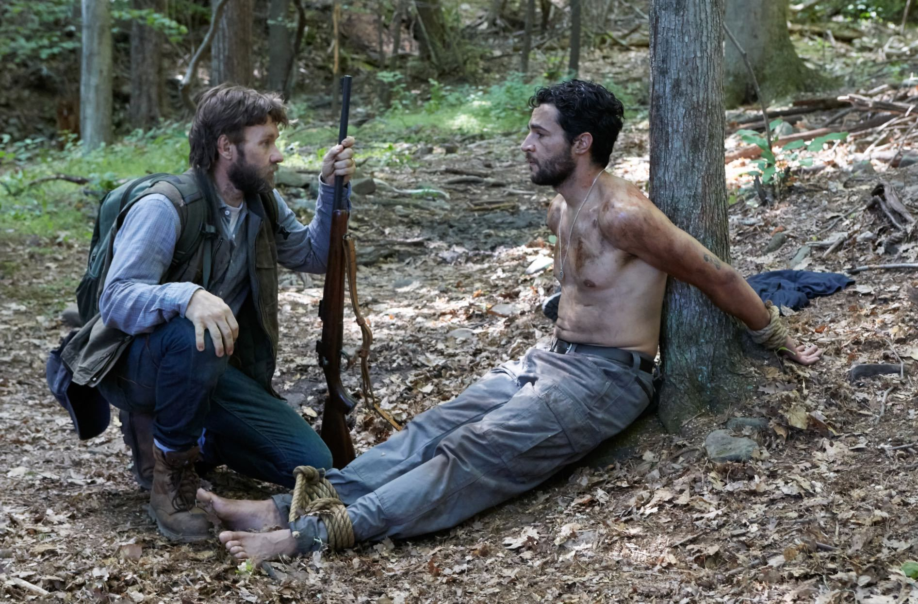 Joel Edgerton keeps Christopher Abbott tied up in It Comes At Night (2017)