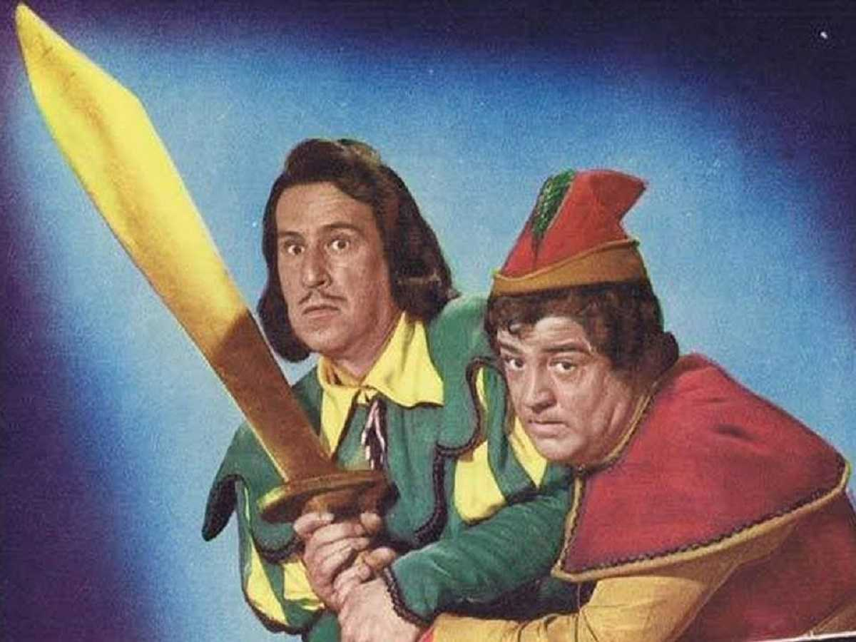 Mr Dinklepuss (Bud Abbott) and Jack (Lou Costello) in Jack and the Beanstalk (1952)