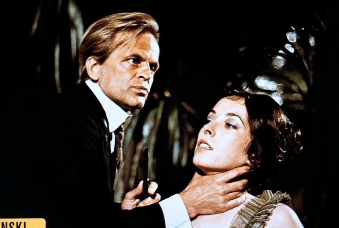 Klaus Kinski menaces a victim in Jack the Ripper (1976)