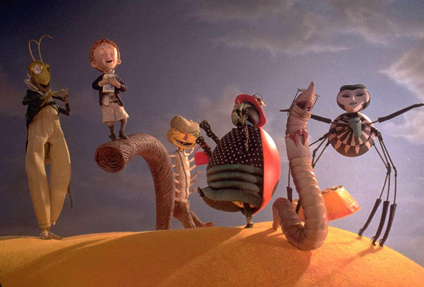 Setting forth on a journey aboard the giant peach - (l to r) Grasshopper (voiced by Simon Callow), James (voiced by Paul Terry), Glowworm (voiced by Miriam Margolyes), Ladybug (voiced by Jane Leeves), Earthworm (voiced by David Thewlis) and Spider (voiced by Susan Sarandon) in James and the Giant Peach (1996)