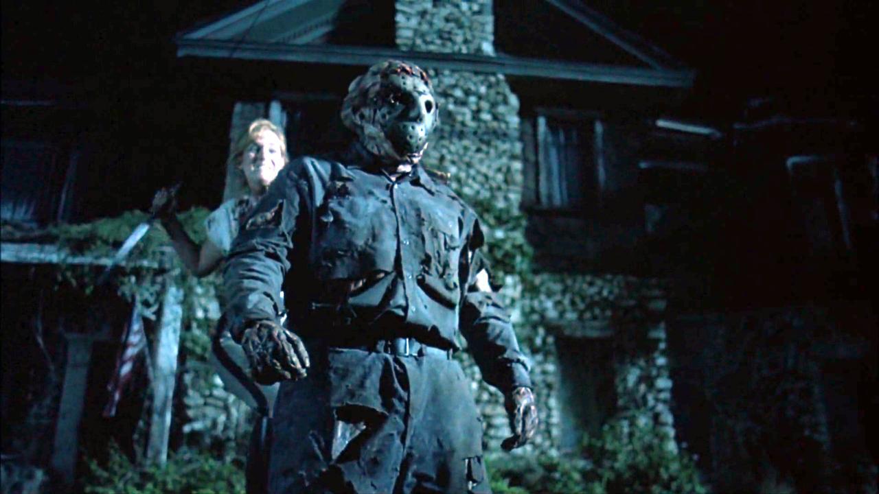 Kari Keegan prepares to stab Jason Voorhees (Kane Hodder) through the heart in Jason Goes to Hell: The Final Friday (1993)