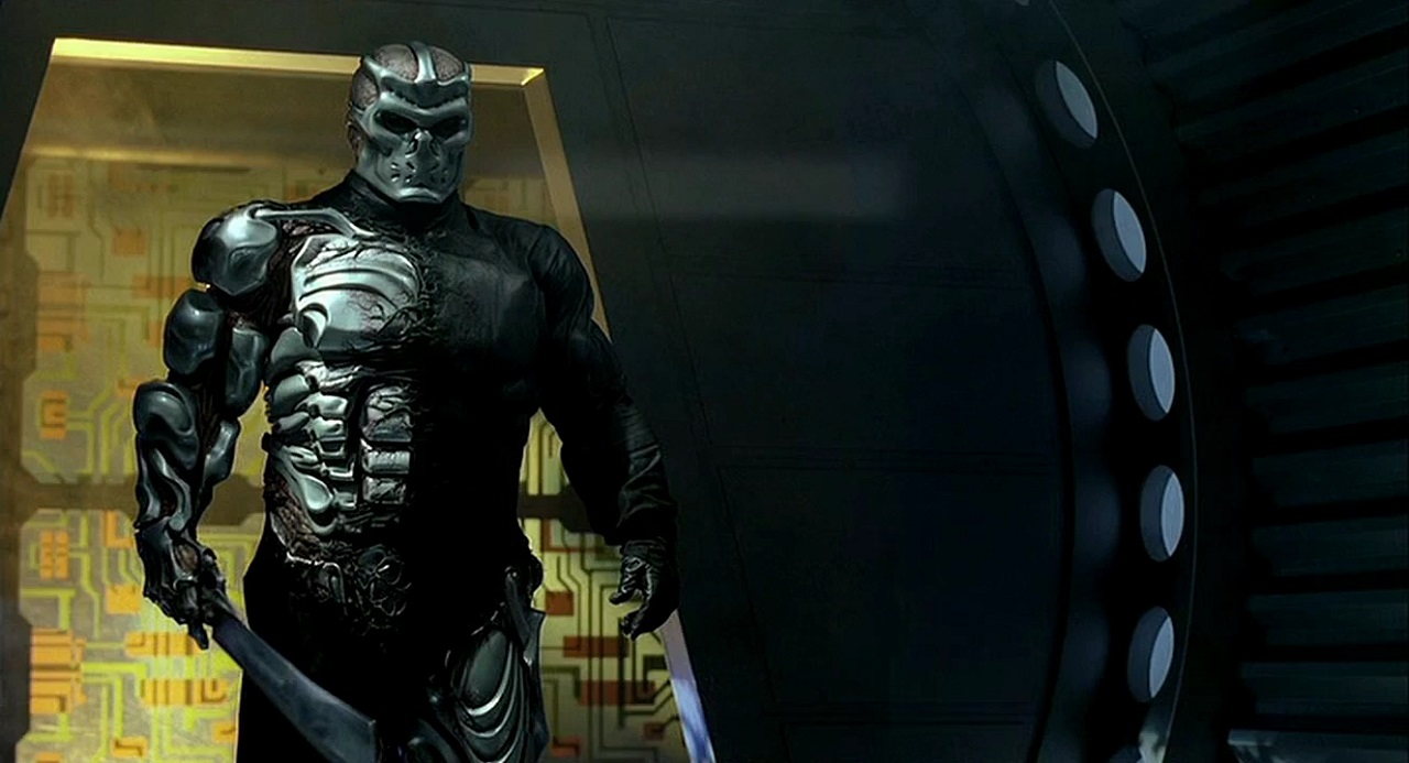A cyborg refitted Jason Voorhees (Kane Hodder) in Jason X (2001)