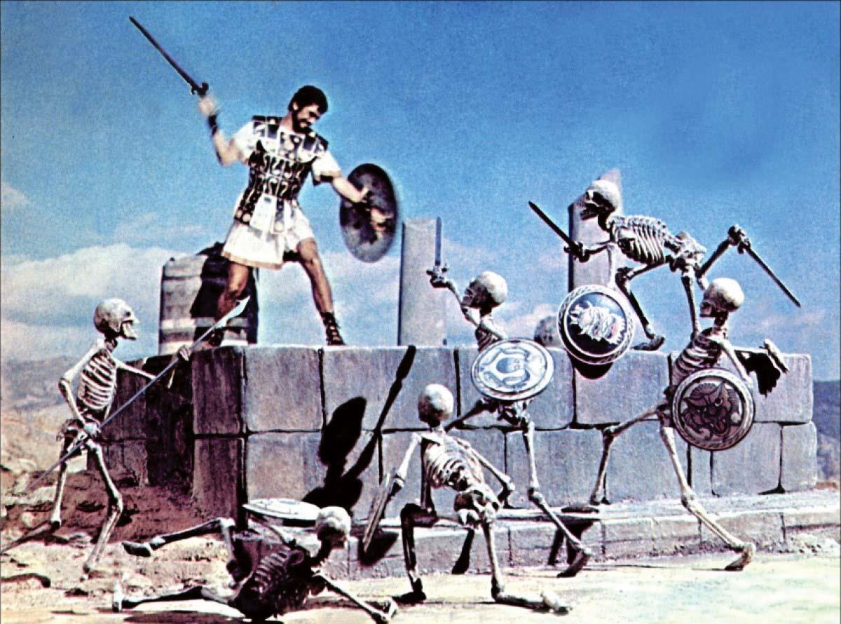 Jason (Todd Armstrong) fights off the re-animated skeletons in Jason and the Argonauts (1963)
