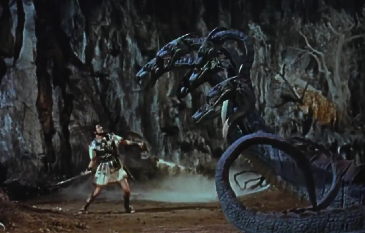 Jason (Todd Armstrong) up against The Hydra in Jason and the Argonauts (1963)