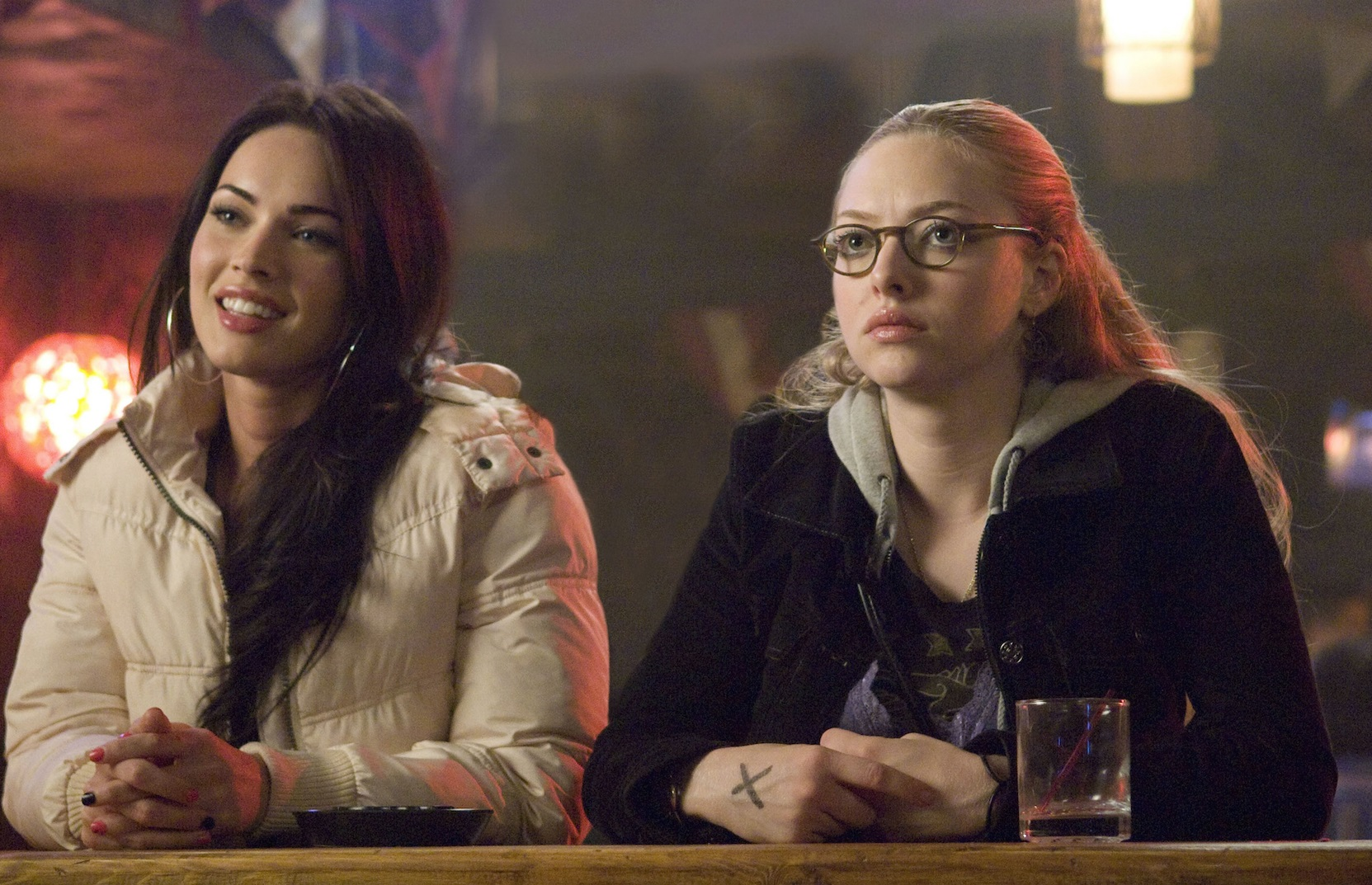 Best friends (l to r) Jennifer Check (Megan Fox) and Anita 'Needy' Lesnicki (Amanda Seyfried) in Jennifer's Body (2009)