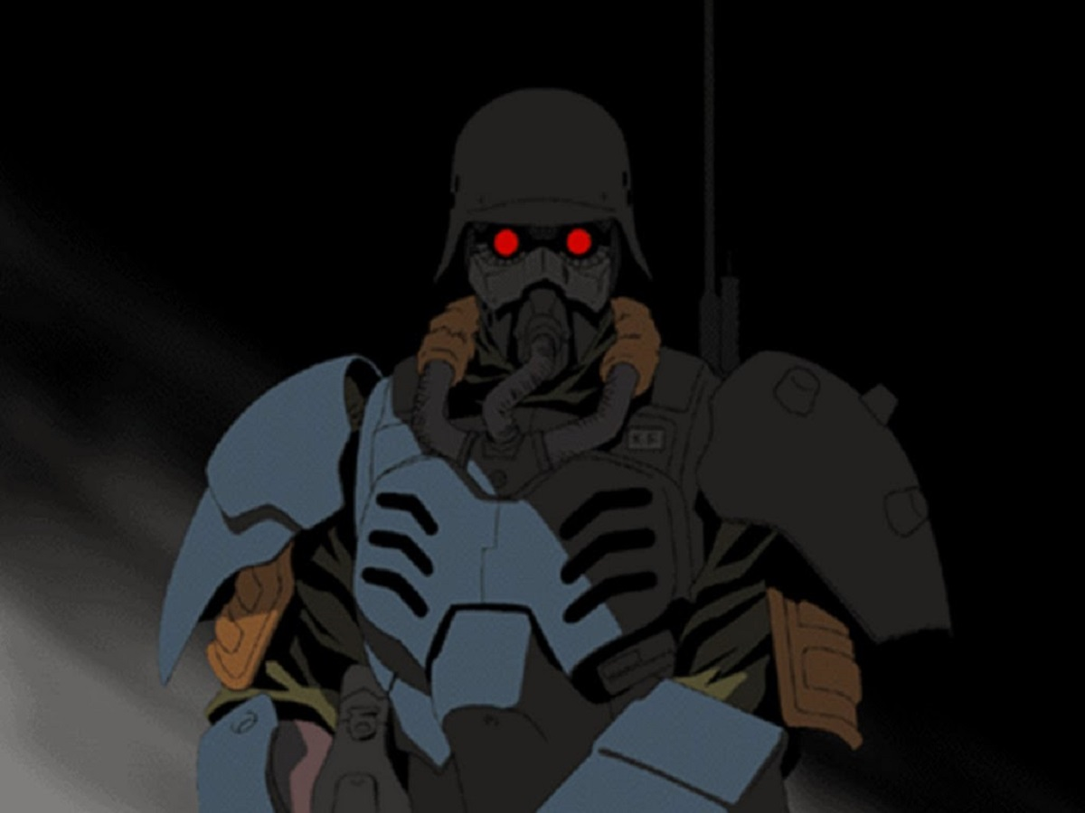 Fuse Tazaki in action in riot gear in Jin-Roh: The Wolf Brigade (1998) - complex metaphor between Little Red Riding Hood and the wolf