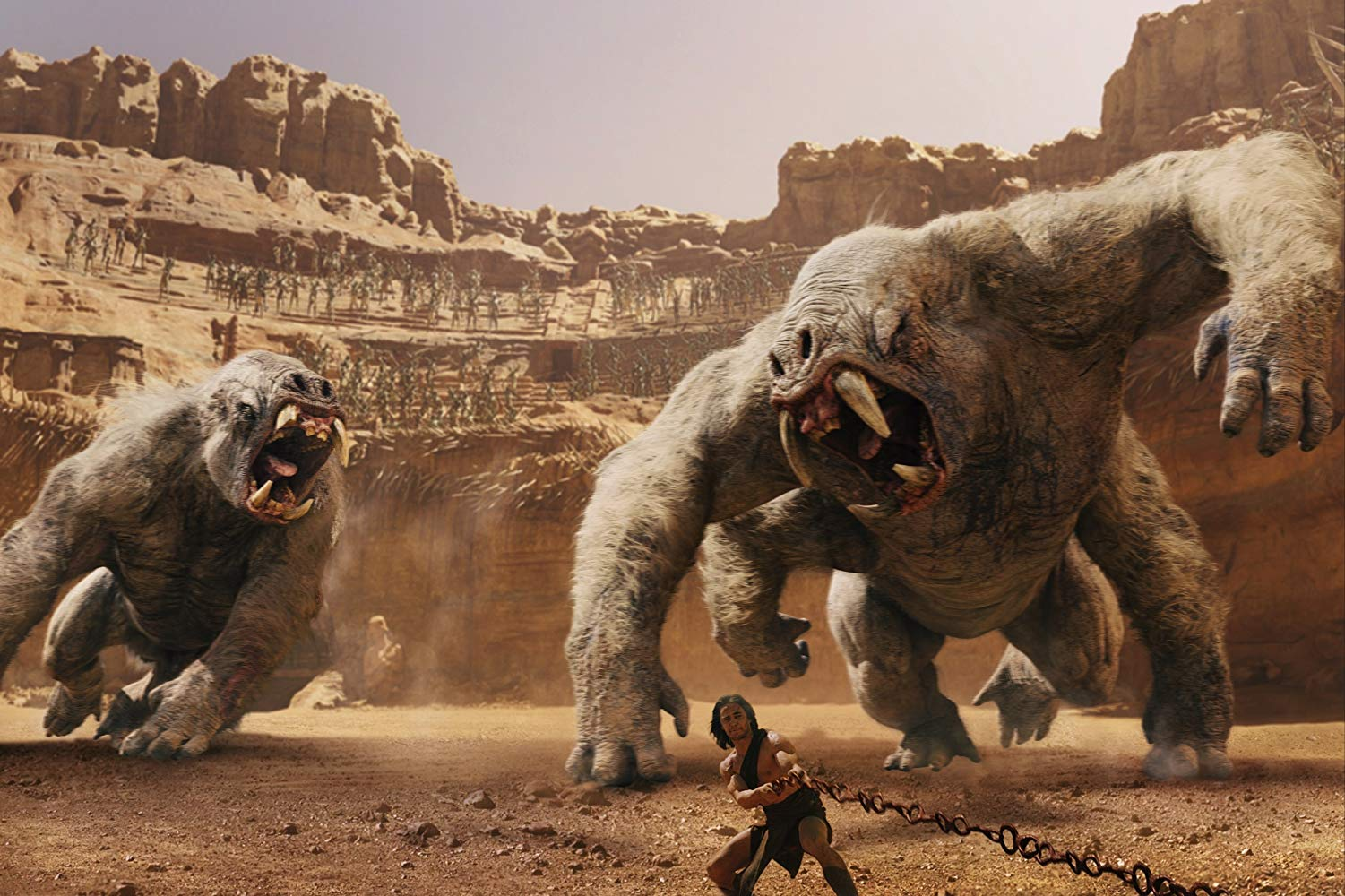 John Carter (Taylor Kitsch) sentenced to battle the white apes in the area in John Carter (2012)