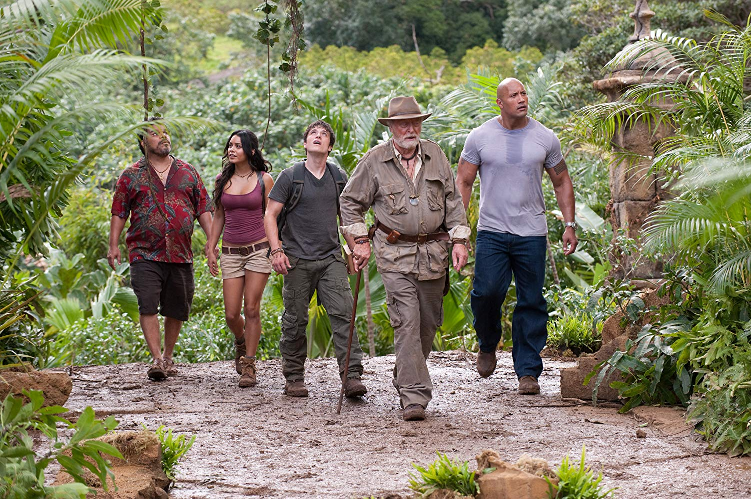 Luis Guzman, Vanessa Hudgens, Josh Hutcherson, Michael Caine, Dwayne Johnson in Journey 2: The Mysterious Island (2012)