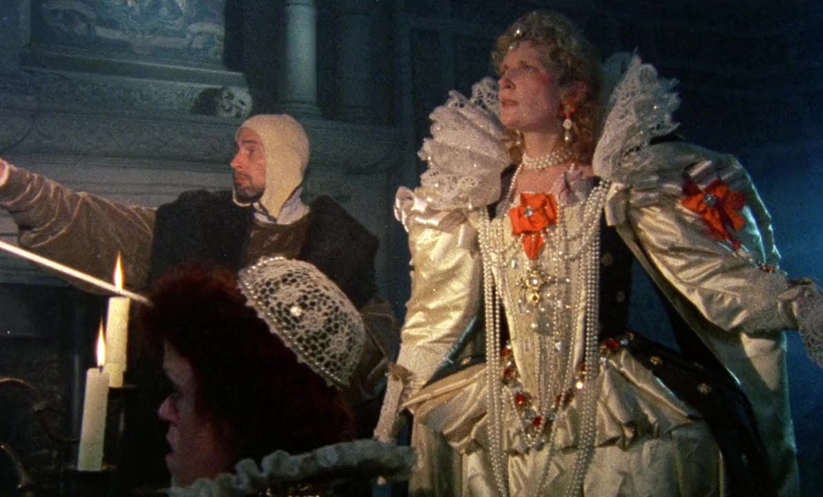 Queen Elizabeth I (Jenny Runacre) receives a vision of the future in Jubilee (1978)