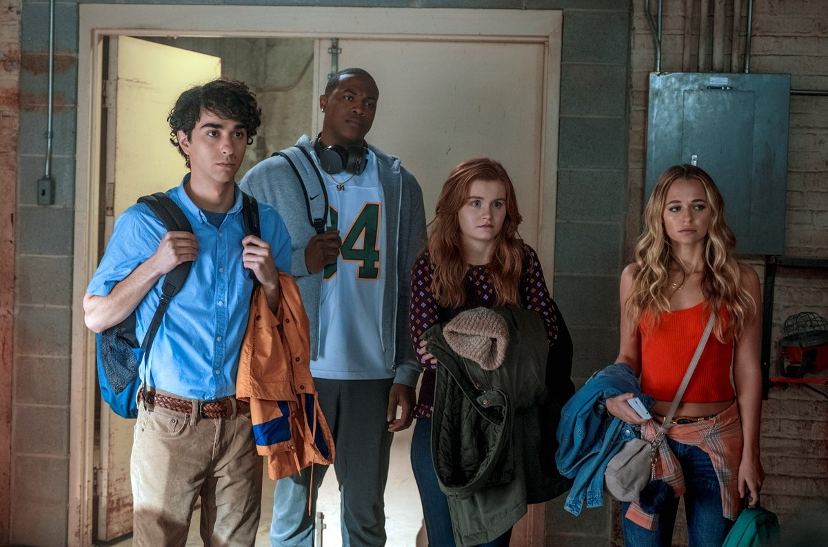 The original teenage players - (l to r) Alex Wolff, Ser'Darius Blain, Morgan Turner, Madison Iseman in Jumanji: Welcome to the Jungle (2017)