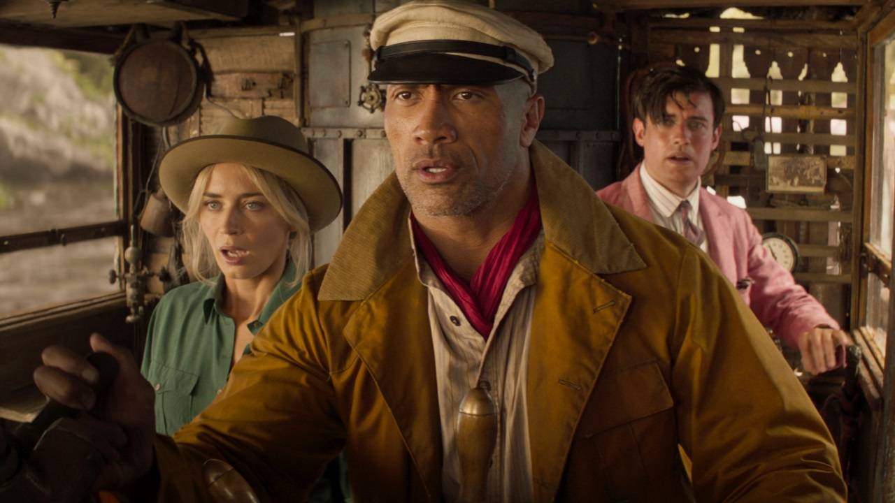 Emily Blunt, Dwayne Johnson and Jack Whitehall in Jungle Cruise (2021)