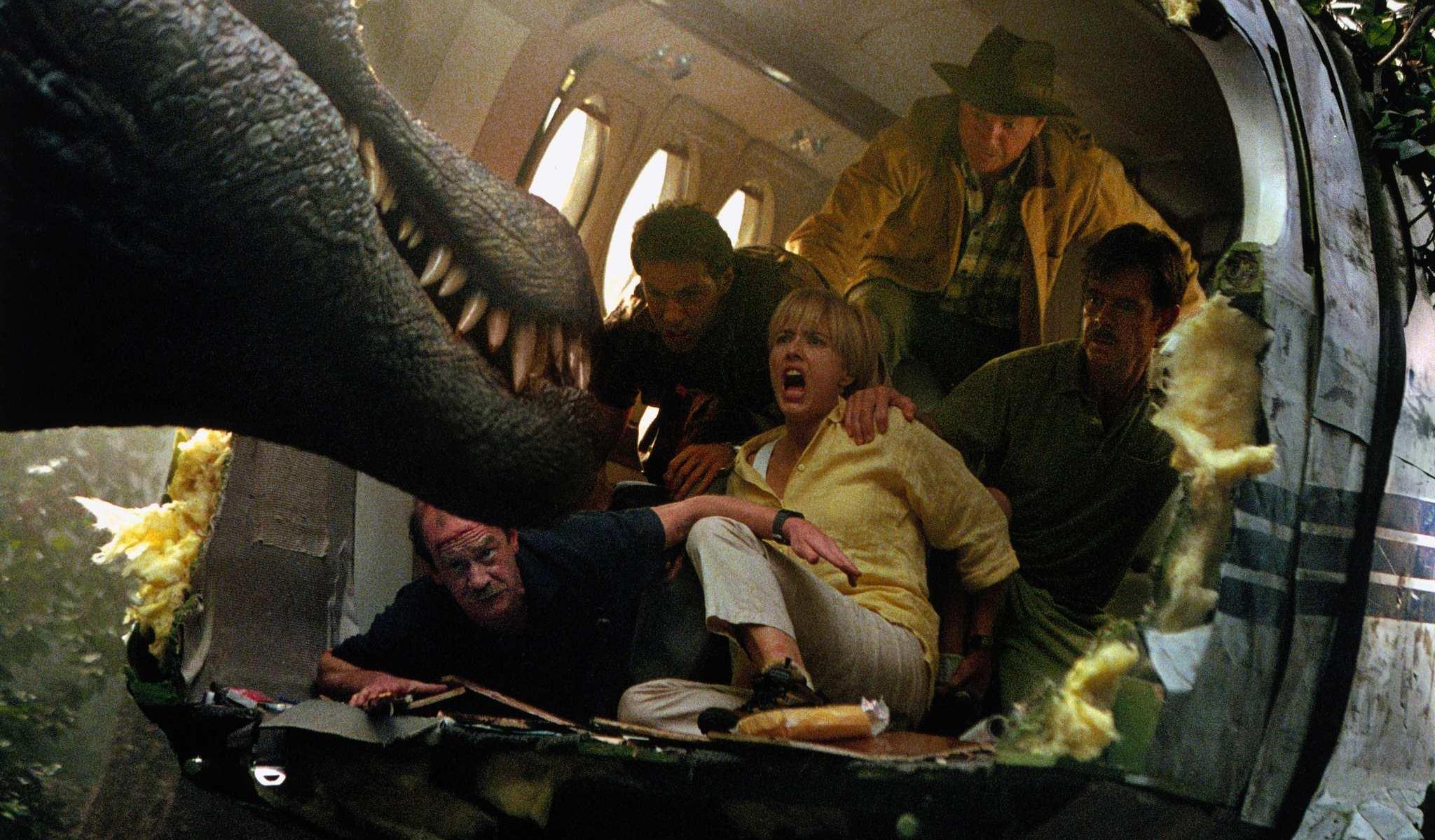 Michael Jeter, Alessandro Nivola, Téa Leoni, Sam Neill and William H. Macy in Jurassic Park III (2001)