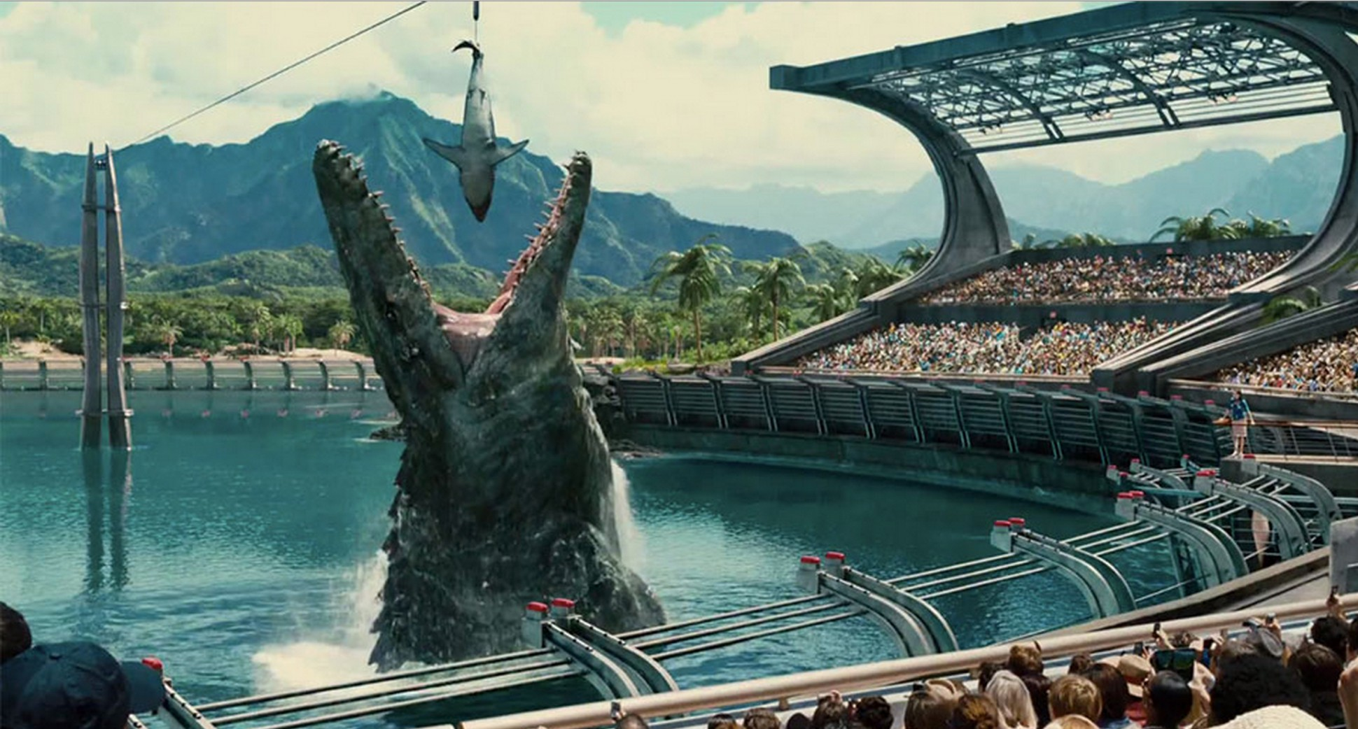 The Mosasaurus devours a shark in Jurassic World (2015)