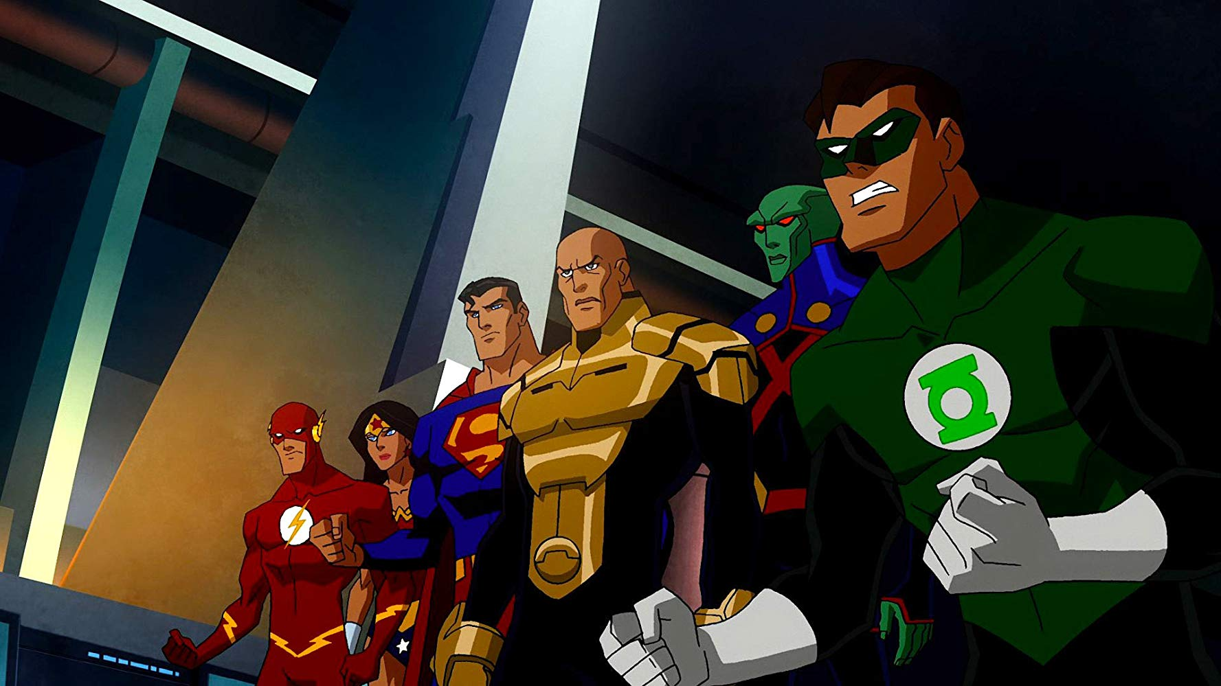 The Flash, Wonder Woman, Superman, the alternate world Lex Luthor, J'onn J'onnz and Green Lantern in Justice League Crisis on Two Earths (2010)
