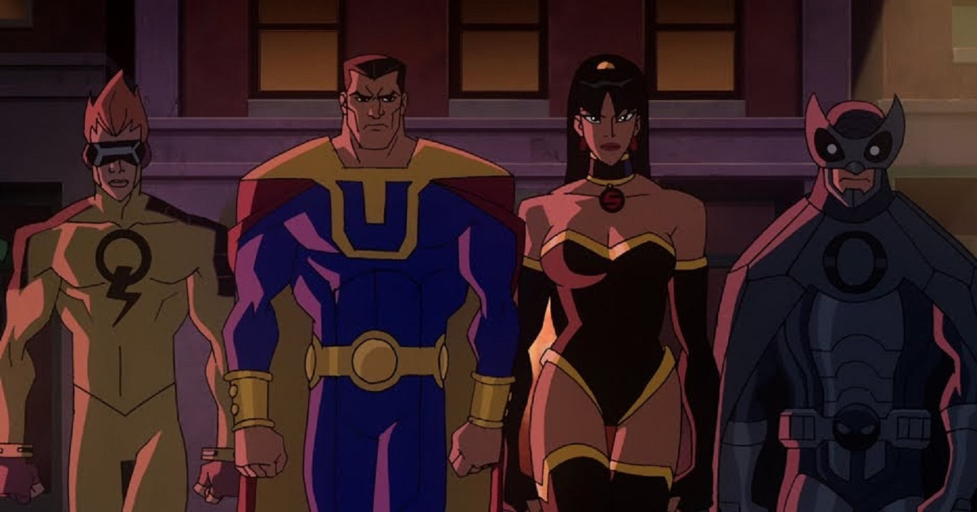The Crime Syndicate line-up - Johnny Quick, Ultraman, Superwoman and Owlman in Justice League Crisis on Two Earths (2010)
