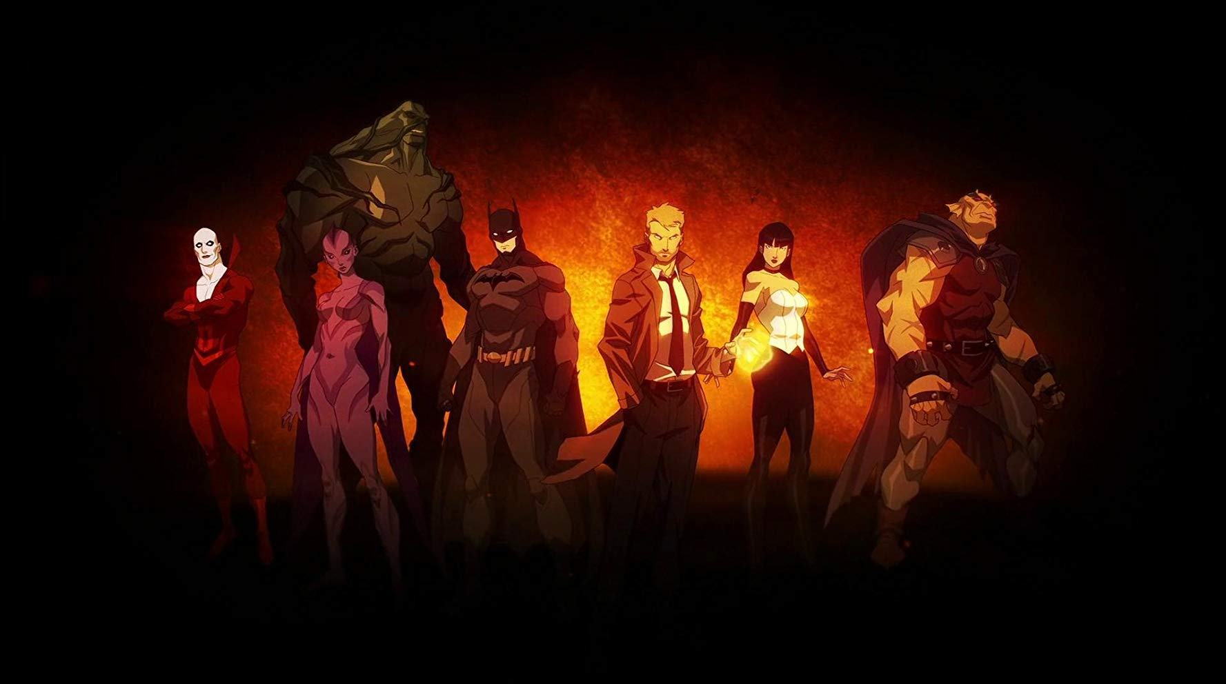 Promotional artwork character line-up - Deadman, Black Orchid, Swamp Thing, Batman, John Constantine, Zatanna and Etrigan in Justice League Dark (2017)